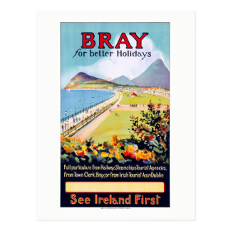 Ireland Bray Vintage Travel Poster Restored Postcard