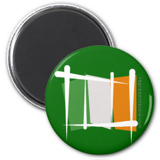 Ireland Brush Flag 6 Cm Round Magnet