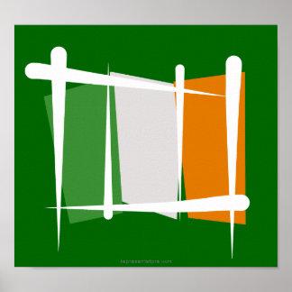 Ireland Brush Flag Poster