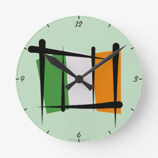 Ireland Brush Flag Round Clock