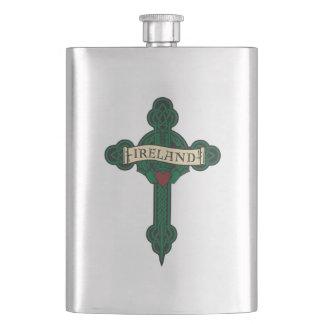 Ireland - Celtic Cross & Claddagh Flask