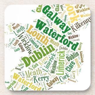 Ireland Cities Word Art Beverage Coasters