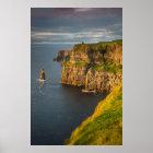 Ireland coastline at sunset poster