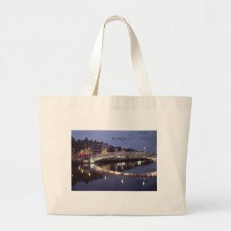 Ireland Dublin Bridge night (St.K) Large Tote Bag