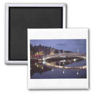 Ireland Dublin Bridge night (St.K) Square Magnet
