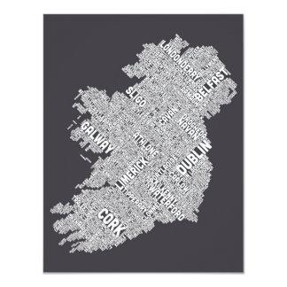 Ireland Eire City Text map 11 Cm X 14 Cm Invitation Card