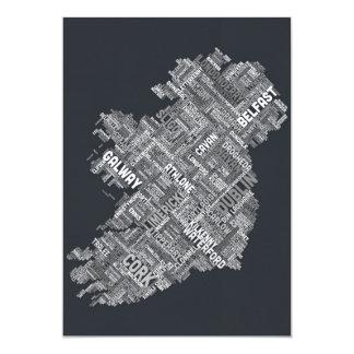 Ireland Eire City Text map 13 Cm X 18 Cm Invitation Card