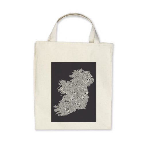Ireland Eire City Text map Tote Bags