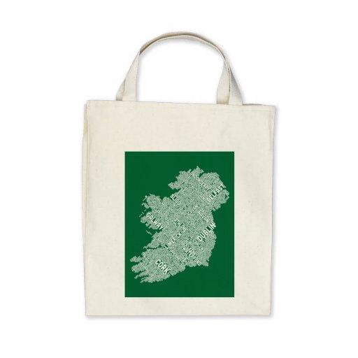 Ireland Eire City Text map Canvas Bag