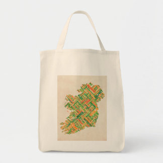 Ireland Eire City Text map Grocery Tote Bag