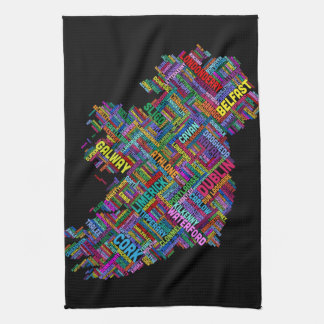 Ireland Eire City Text map Hand Towel