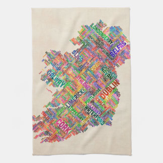 Ireland Eire City Text map Hand Towels
