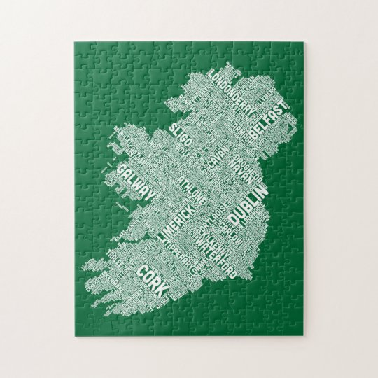 Ireland Eire City Text map Jigsaw Puzzle