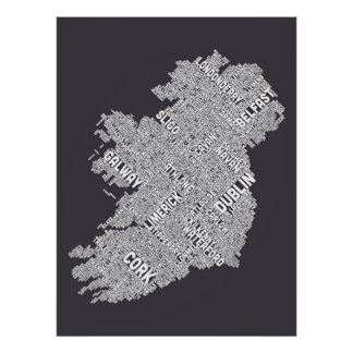 Ireland Eire City Text map Poster
