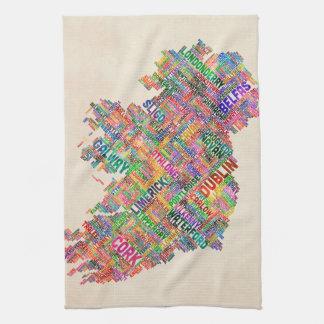 Ireland Eire City Text map Tea Towel