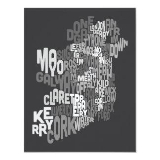 Ireland Eire County Text Map 11 Cm X 14 Cm Invitation Card