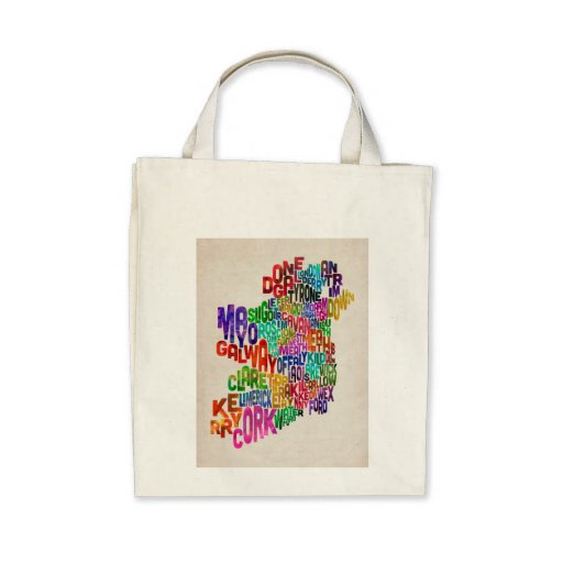 Ireland Eire County Text Map Bags