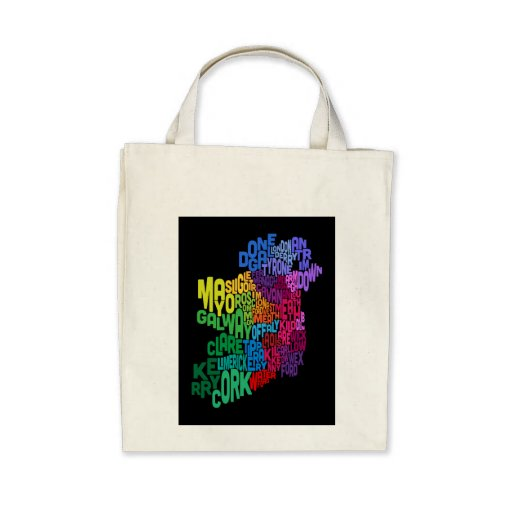 Ireland Eire County Text Map Bag