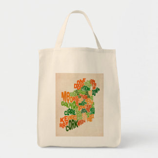 Ireland Eire County Text Map Grocery Tote Bag
