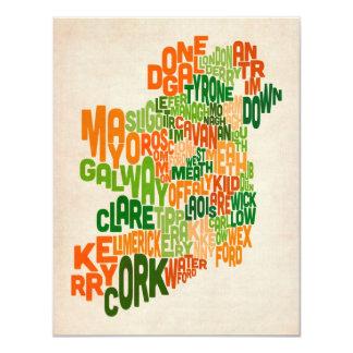 Ireland Eire County Text Map 11cm X 14cm Invitation Card