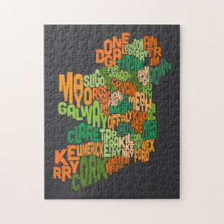 Ireland Eire County Text Map Puzzle