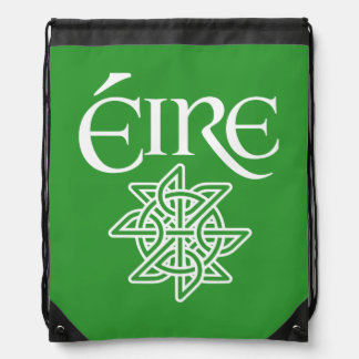 Ireland Éire Text with Decorative Celtic Knot Drawstring Bag