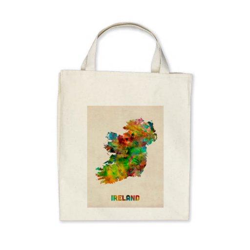 Ireland Eire Watercolor Map Bag