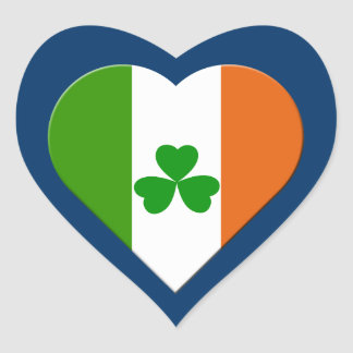 ireland flag and shamrock heart sticker