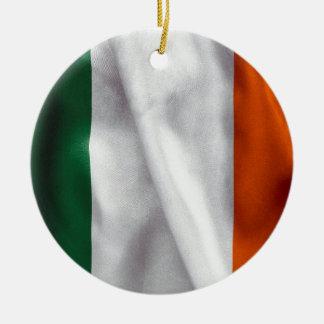 Ireland Flag Ceramic Round Christmas Ornament