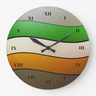 Ireland Flag Colors-Chrome by Shirley Taylor Large Clock