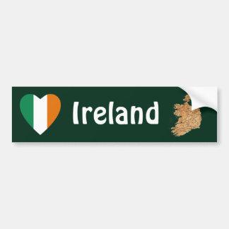 Ireland Flag Heart + Map Bumper Sticker