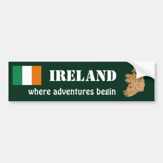 Ireland Flag + Map Bumper Sticker