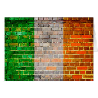 Ireland flag on a brick wall card