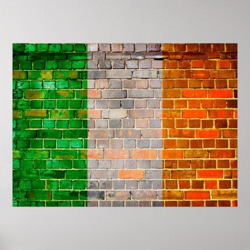 Ireland flag on a brick wall poster