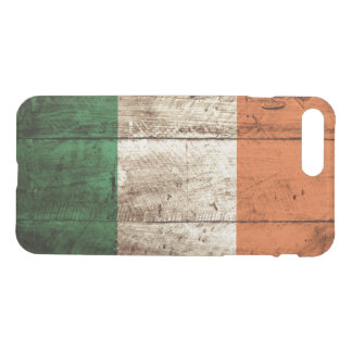 Ireland Flag on Old Wood Grain iPhone 7 Plus Case