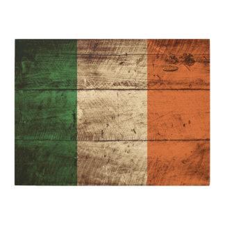 Ireland Flag on Old Wood Grain Wood Print