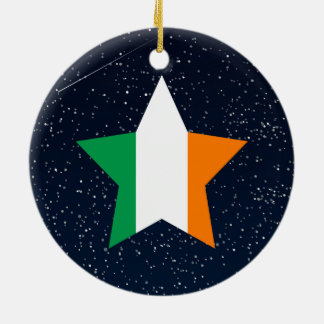 Ireland Flag Star In Space Christmas Ornament