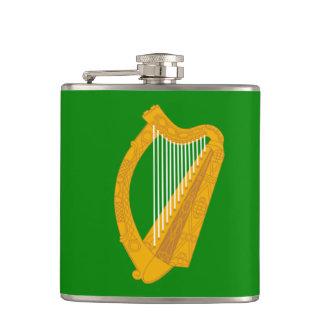 ireland green harp flag irish hip flask