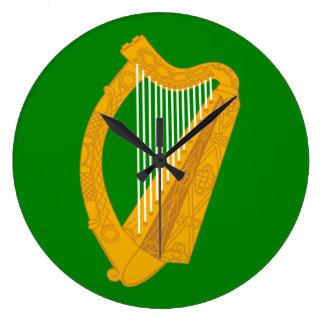 ireland green harp flag irish large clock