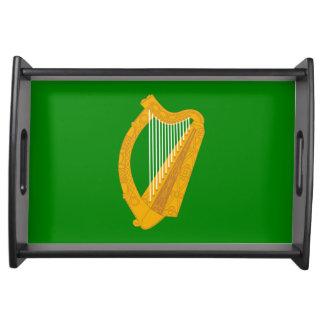 ireland green harp flag irish serving tray