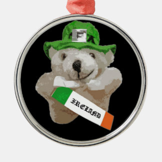 Ireland, Irish Leprechaun Teddy Bear, Black Silver-Colored Round Decoration
