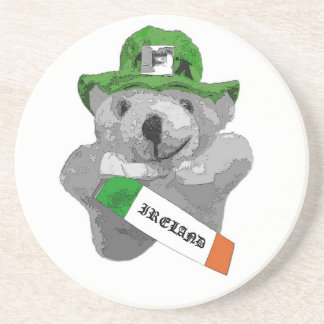 Ireland, Irish Leprechaun Teddy Bear, Part B&W Coaster