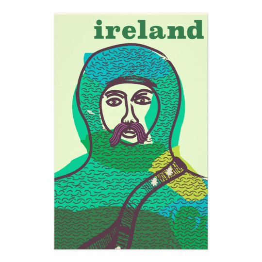 Ireland knight vintage travel poster print stationery