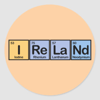 Ireland made of Elements Round Sticker