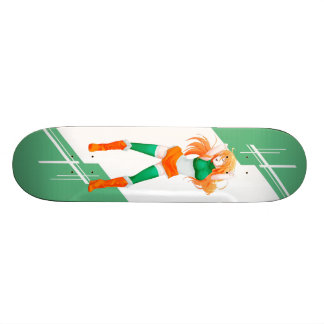 Ireland Manga Anime girl dressed in Flag Irish 18.1 Cm Old School Skateboard Deck