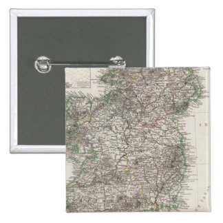 Ireland Map by Stieler 15 Cm Square Badge