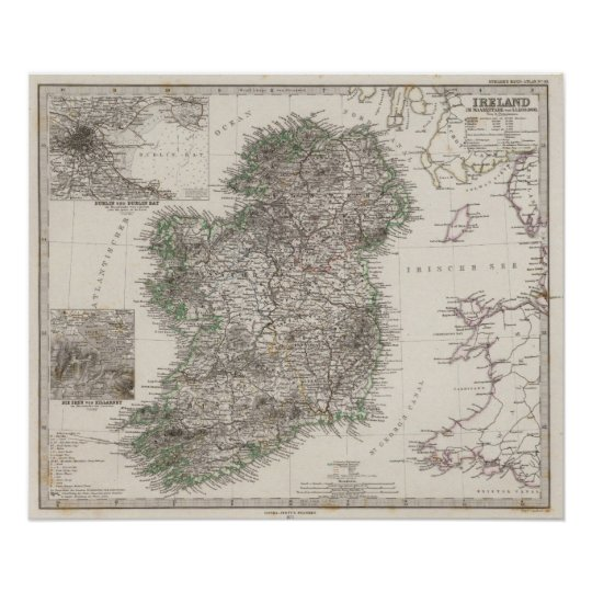 Ireland Map by Stieler Poster