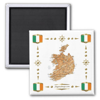 Ireland Map + Flags Magnet