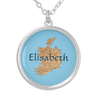Ireland Map + Name Necklace