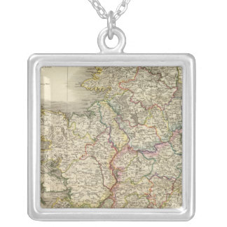 Ireland map silver plated necklace